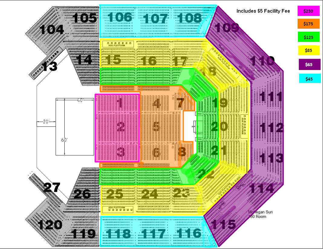 Mohegan sun arena seating chart mohegan sun arena ct seating