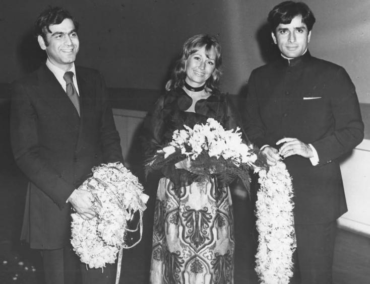 Ismail Merchant, Jennifer Kendal Kapoor and a pensive Shashi Kapoor.